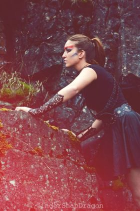 Model Kirsty Walters Photographer Ginger Snap Dragon Photography Leather Gauntlets Lydia Wall Millinery