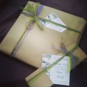 Amaranth Alchemy's first packages all packed up pretty before posting...