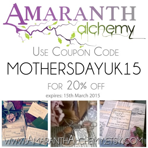 Amaranth Alchemy, UK Mothers day, sale, book page art,