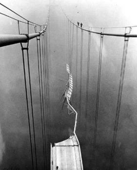Narrows Bridge collapse in Tacoma, Washington on November 7, 1940 - Photo Source