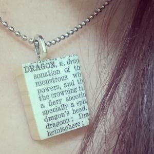 dragon, dragon necklace, dictionary necklace, Amaranth Alchemy, gifts,