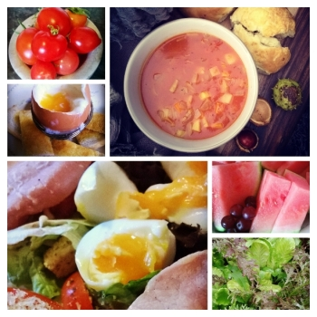 healthy food, salad, egg and bacon salad, soup, watermelon, tomatoes, lettuce, eggs,