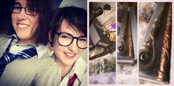 Lisa and Bekah and wands (Fleur Delacour's and Hermione Granger's) © Lisa Shambrook