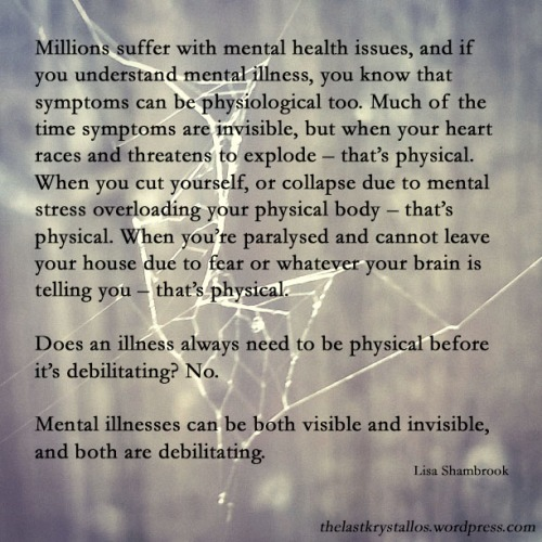 mental illness visibility quote, lisa shambrook,
