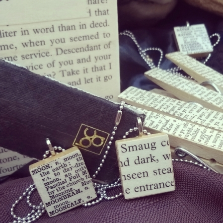 scrabble style necklaces, halloween, smaug the hobbit, the moon jewellery,