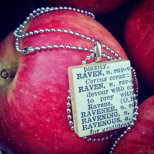 ravens, amaranth alchemy etsy shop, dictionary necklace, scrabble style necklace, halloween,
