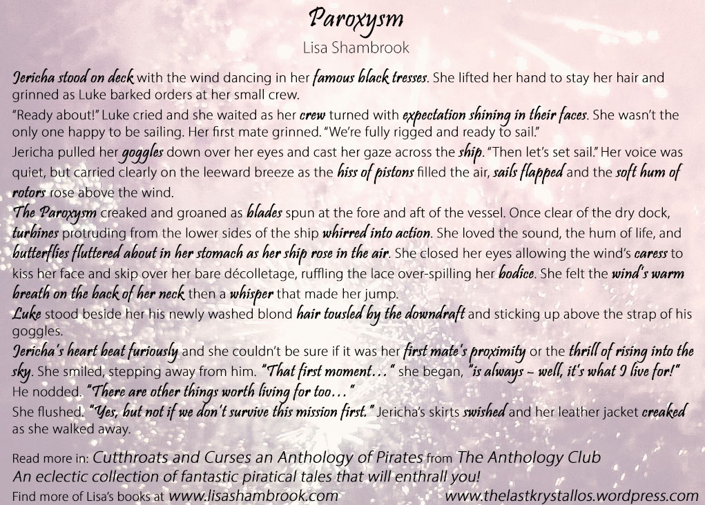 Paroxysm - An Anthology of Pirates, Lisa Shambrook, The Anthology Club, Steampunk pistons passion pirates and petulant dragons,