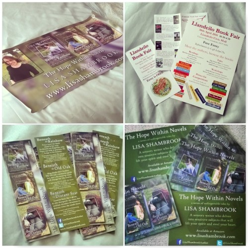 llandeilo book fair 2016, lisa shambrook, bookmarks, banner, business cards, the hope within novels,