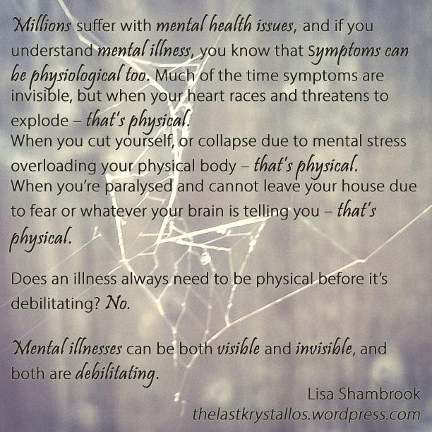 Invisible and visible illnesses - lisa shambrook