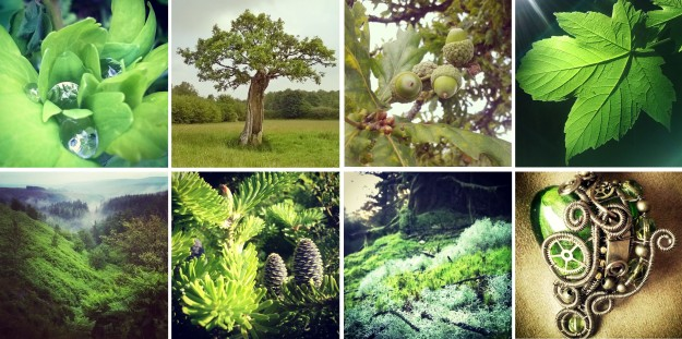 Green, like her willow… and columbine leaves, oaks, acorns and more spring leaves, and valleys, and firs, moss, and jewels…