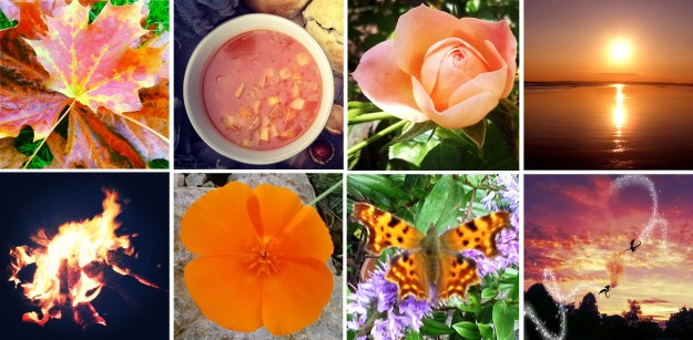 Sunset Orange… and autumn leaves, and winter soup, roses, and beach sunsets, and fire, Californian poppies, and comma butterflies, and dragon-filled skies…