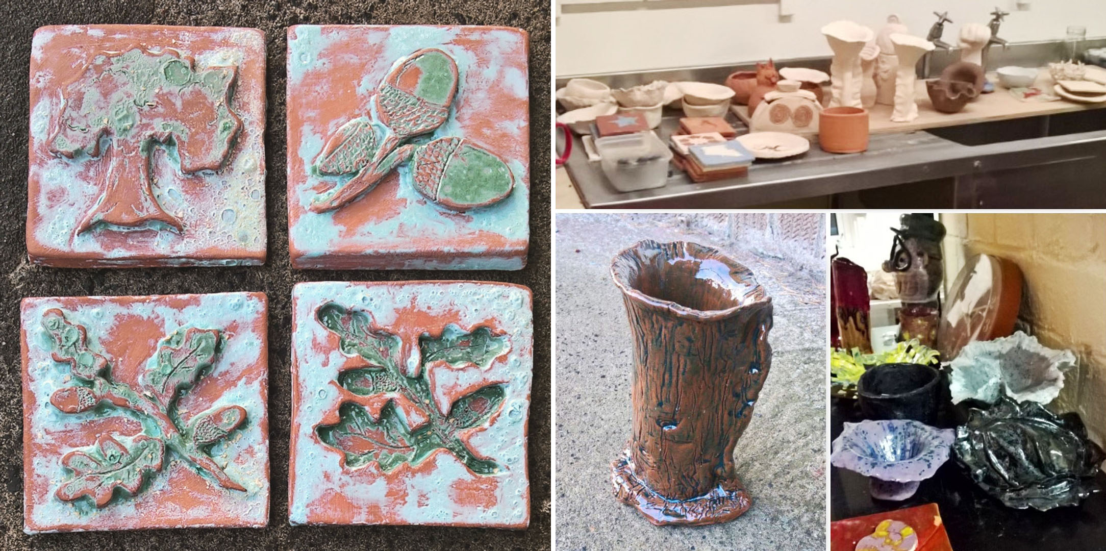 clay-oak-tiles-slab-work-trre-trunk-vase-and-pottery-class-lisa-shambrook-greenspace-carers-oct-2016