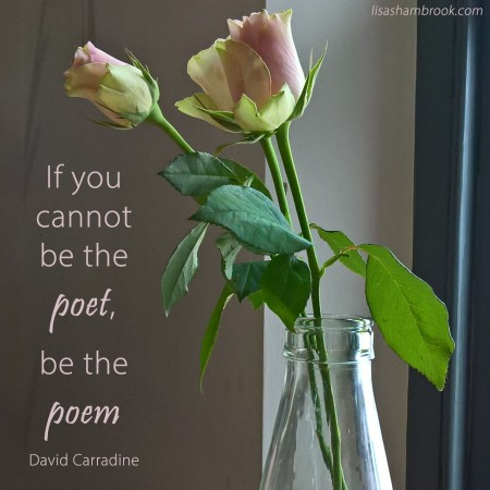 If you cannot be the poet, be the poem-David Carradine-Lisa Shambrook