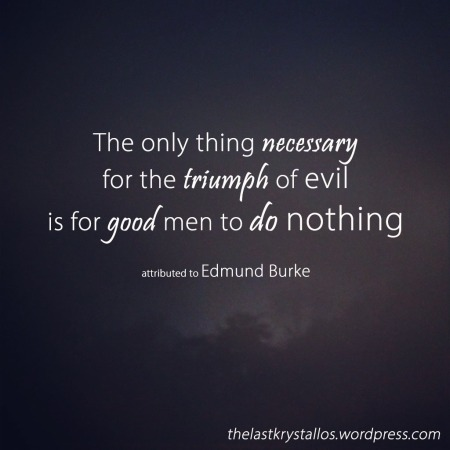 The only thing necessary for the triumph of evil is for good men to do nothing. Edmund Burke