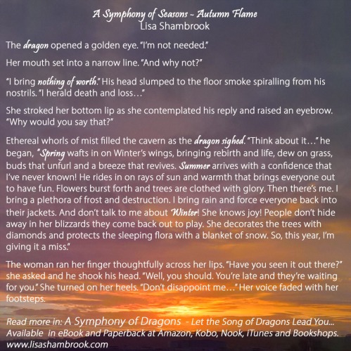 An excerpt of Autumn Flame from A Symphony of Seasons in A Symphony of Dragons by Lisa Shambrook