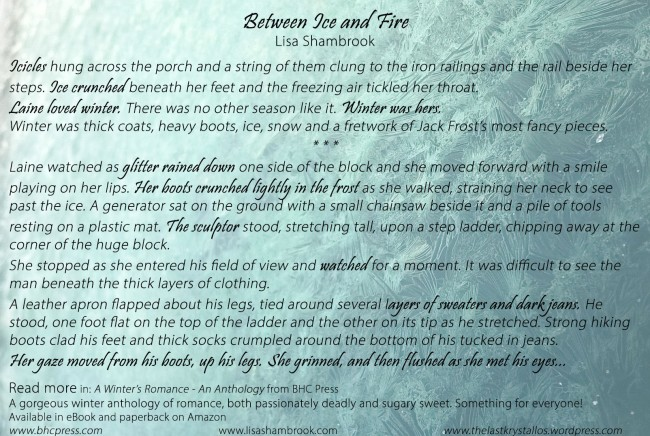 AD Between Ice and Fire -Lisa Shambrook - A Winter's Romance AD