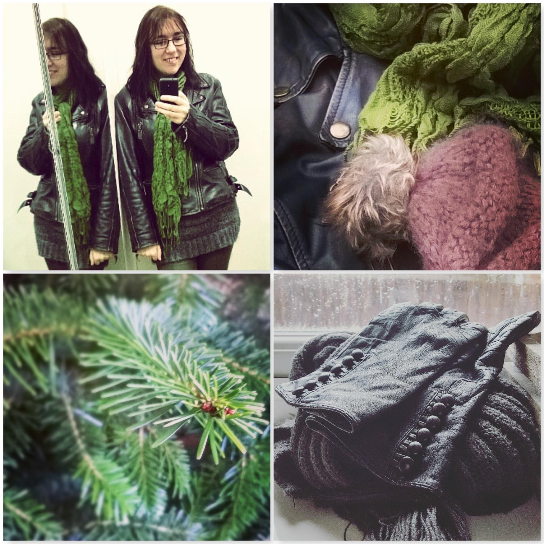 Mirror Selfie - Hat Scarf - Pine - Leather Button Gloves