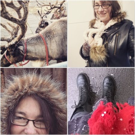 Reindeer - Leather - Furry Hood - Red Scarf