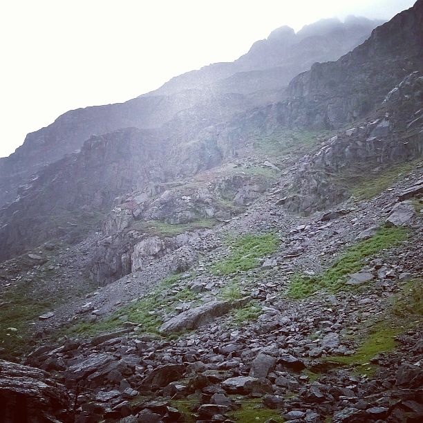 the scree and sides of Cader Idris mountain