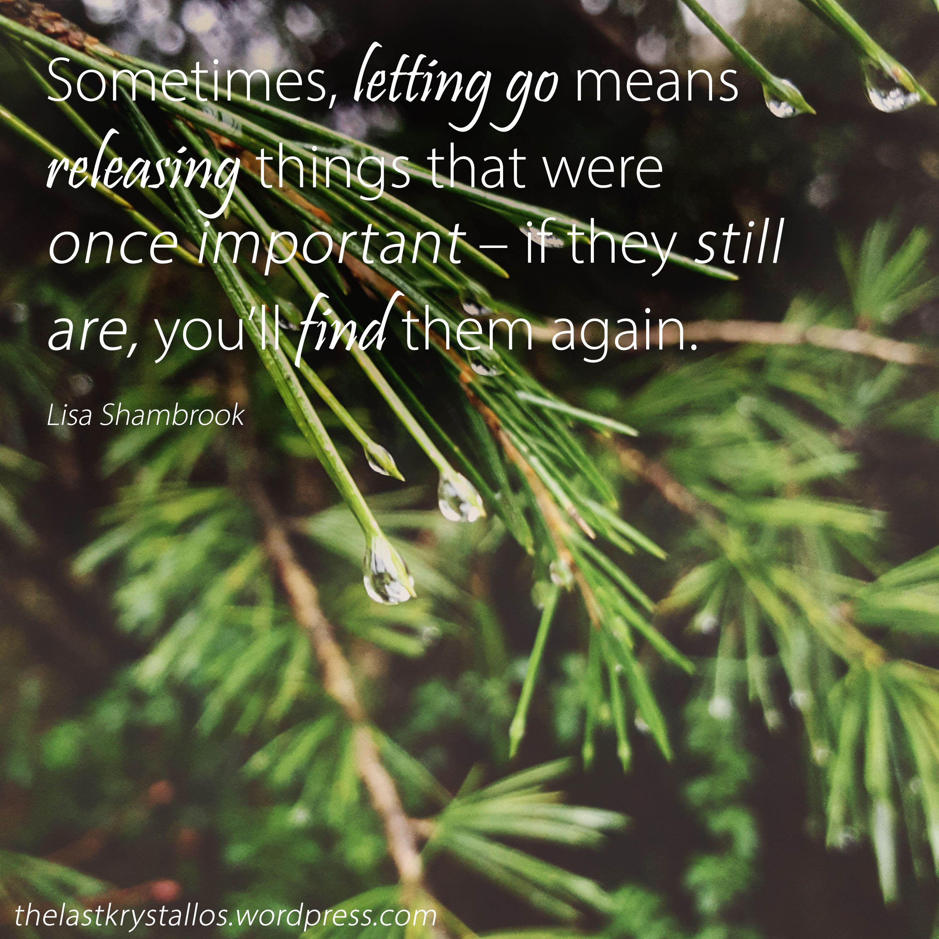 Sometimes, letting go means releasing things that were once important – if they still are, you_ll find them again - Lisa Shambrook - The Last Krystallos
