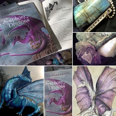 open book A Symphony of Dragons, labradorite gem stone, crystals, and dragons. A Symphony of Dragons by Lisa Shambrook