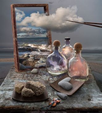Mikhail Batrak art, the ocean, scene with clouds being extracted from a picture and placed in bottles. Salvador Dali influence maybe.