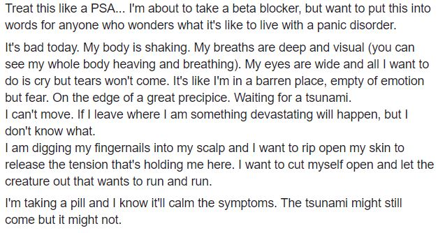 Facebook status describing a panic attack © Lisa Shambrook