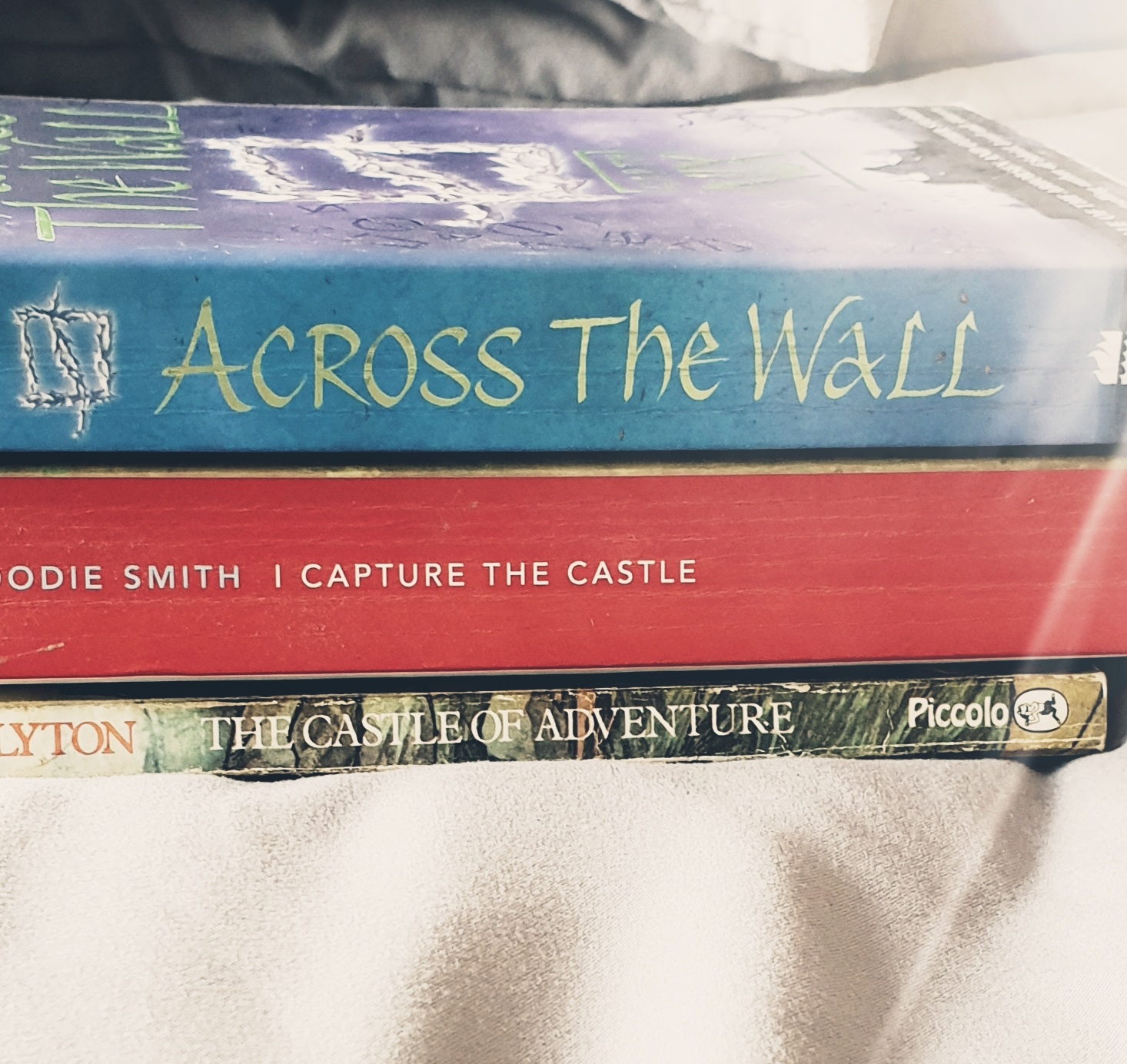 Bookspine poetry - Across the Wall - I Capture the Castle - The Castle of Adventure - The Last Krystallos