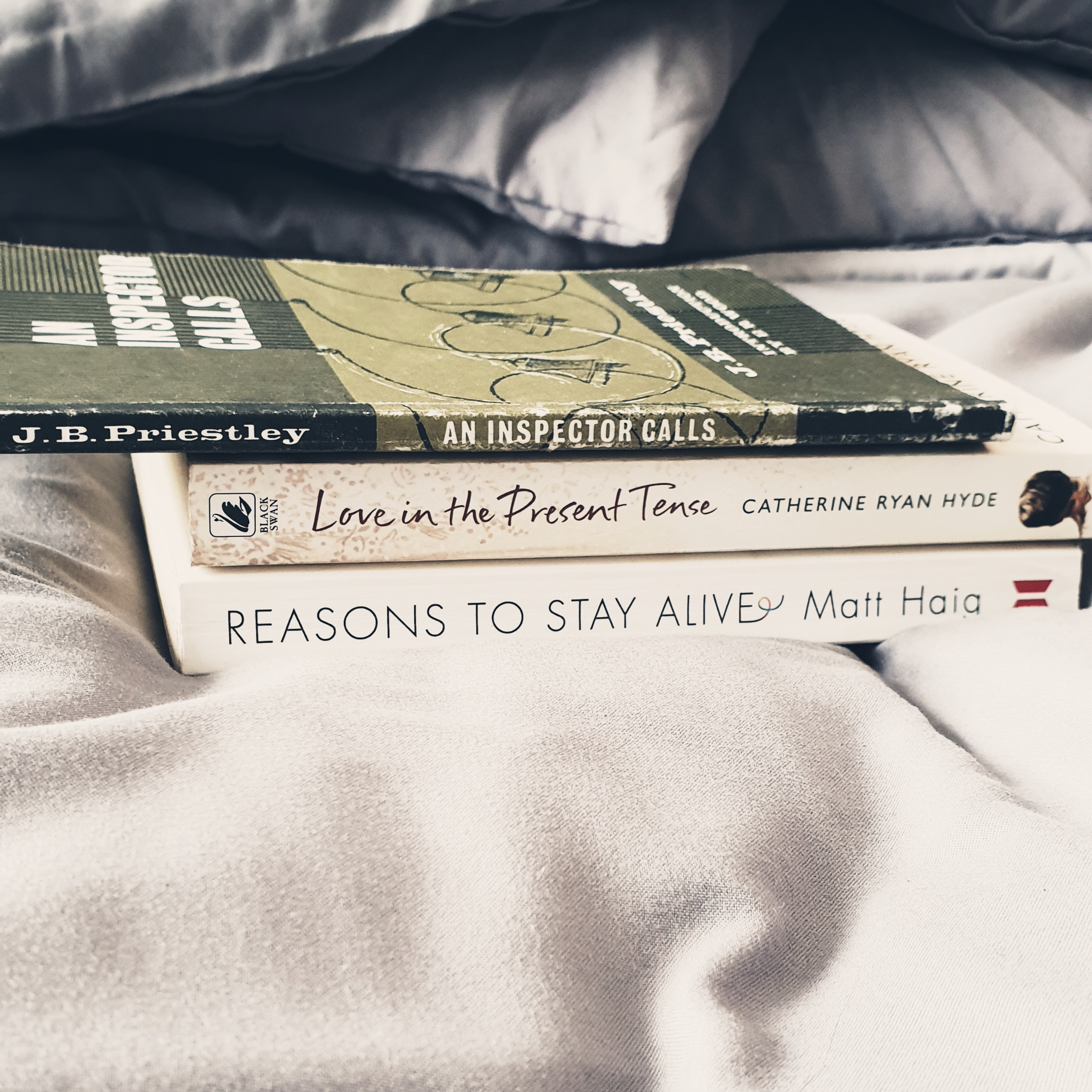 Bookspine poetry - An Inspector Calls - Love in the Present Tense - Reasons to Stay Alive - The Last Krystallos