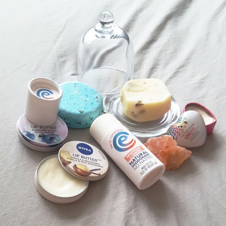 Lush Seanick Shampoo Bar, Naked Sister Moisturising Bar, Nivea Lip Salve, The Body Shop Solid Perfume, Earth Conscious Natural Deodorant - The Last Krystallos