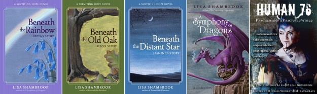 Surviving Hope trilogy, A Symphony of Dragons, and Human76 by Lisa Shambrook