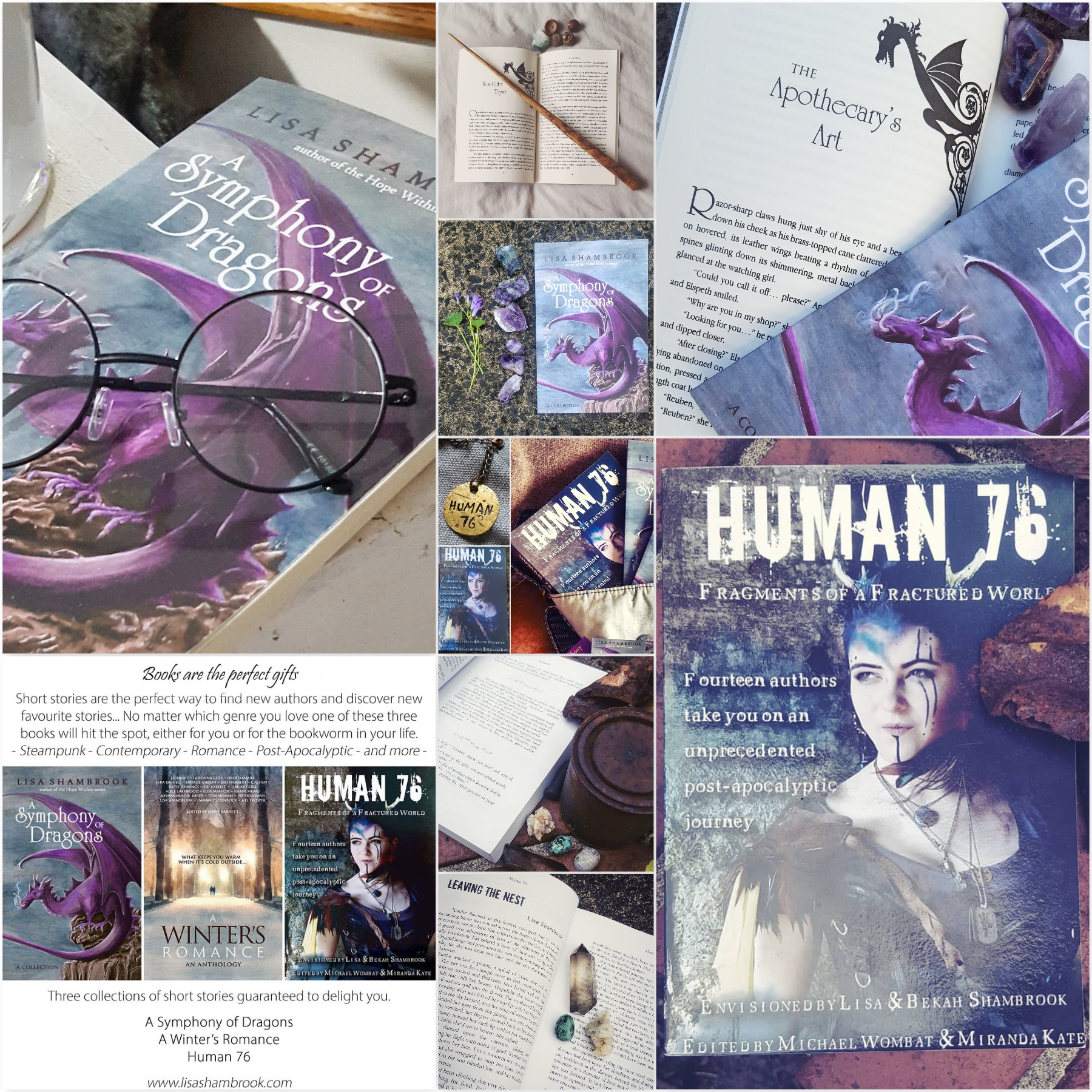 advertising photos of A Symphony of Dragons and Human 76 books by Lisa Shambrook