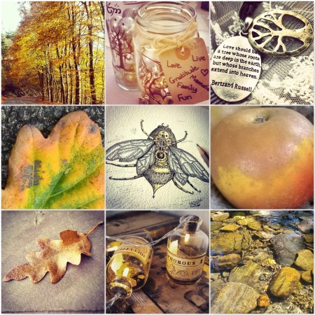 brass photos - yellow leaves, fairy lights, brass necklace, yellow leaf, steampunk bumblebee, russet apple, oak leaf, fairy lights in bottle, river bed in sunlight, for The Last Krystallos blog