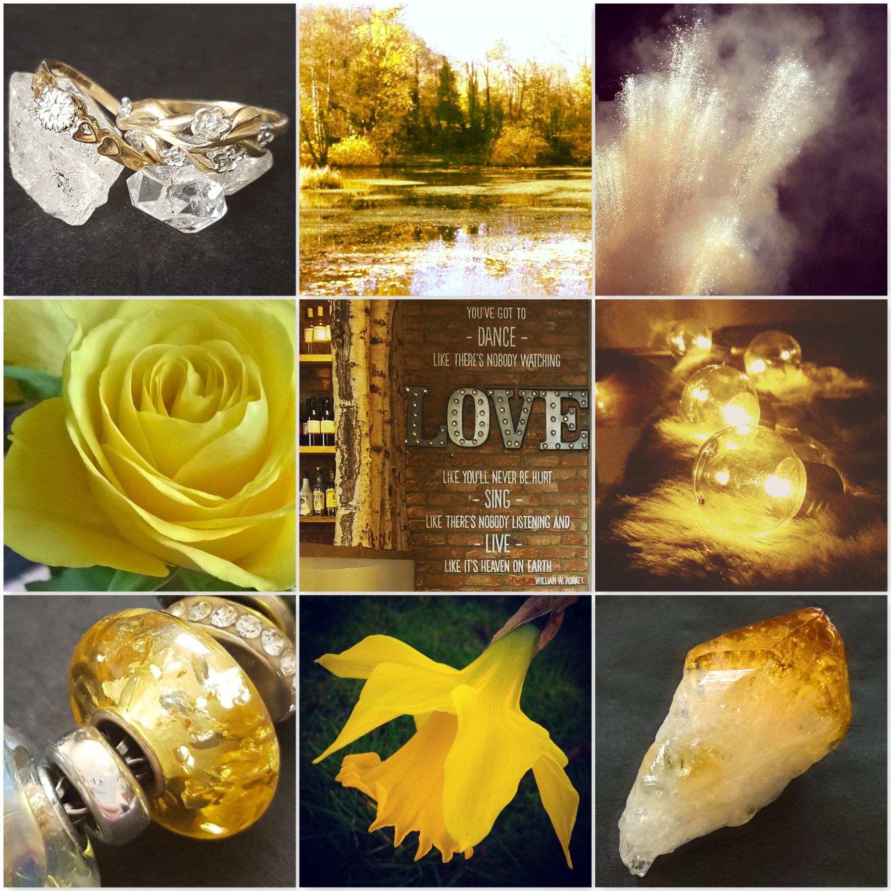 gold photos: gold herkimer diamond jewellery, yellow forest, fireworks, yellow rose, gold wall with Love quote, fairy lights, lemon amber bead, daffodil, citrine stone for The Last Krystallos blog