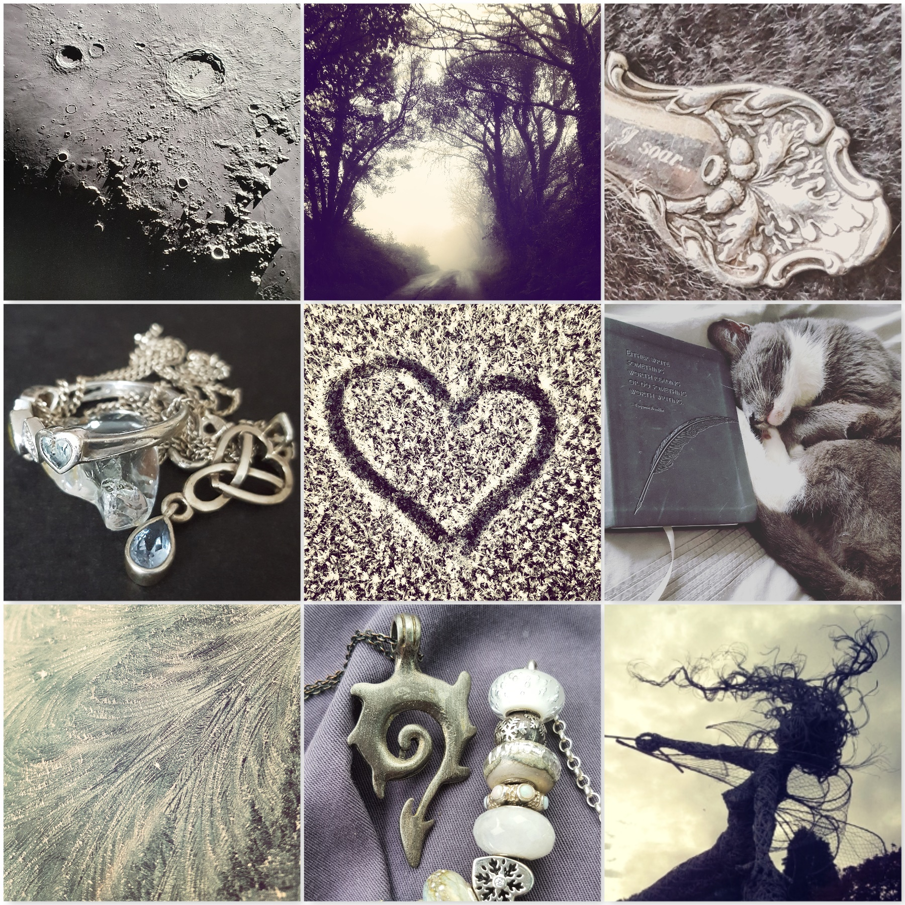 Silver photos: the moon, fog, silver spoon, silver topaz jewellery, frost heart, grey cat, frost, dragon tail necklace, silver fairy, for the last krystallos blog