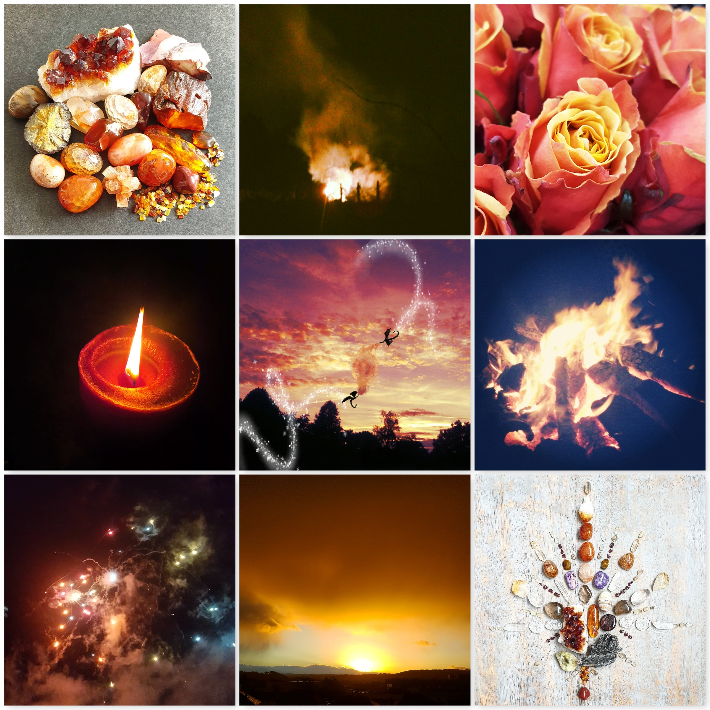 colours, fire, crystals, roses, candle, dragons, fireworks, sunset, crystal grid, the last krystallos