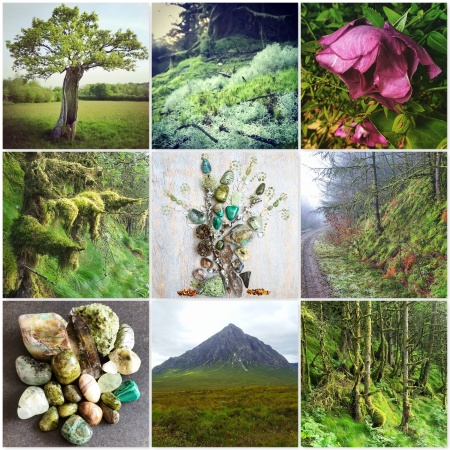 colours, earth, tree, forest, moss, green jewels, crustal grid, rose, crystals, mountain, the last krystallos